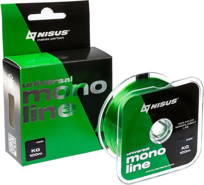 "Леска монофильная Nisus ""MONOLINE Green"", 100 м, 0,25 мм, нейлон, 6,3 кг (N-MG-025-100)"