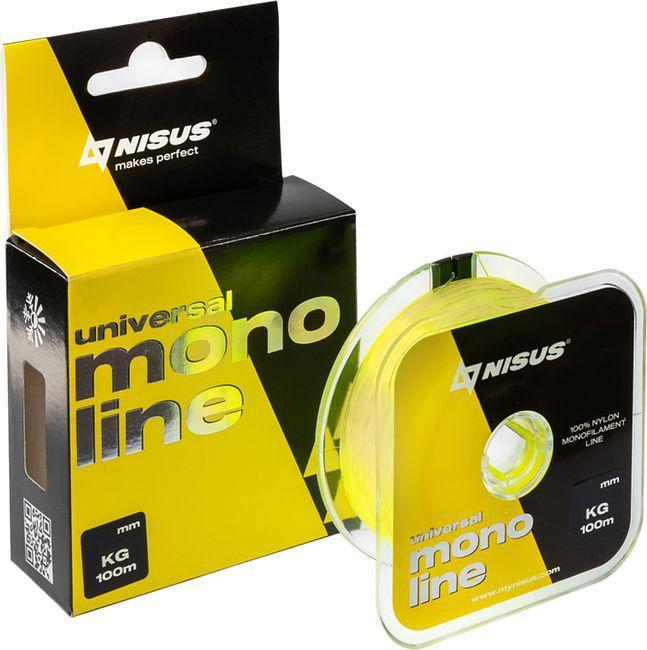 """Леска монофильная Nisus """"MONOLINE Fluorescent Yellow"""", 100 м, 0,20 мм, нейлон, 4,4 кг (N-MFY-020-100)"""