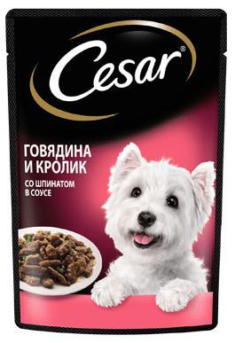 """Влажный корм для взрослых собак """"Cesar"""", с говядиной и кроликом в соусе со шпинатом, 85 г"""