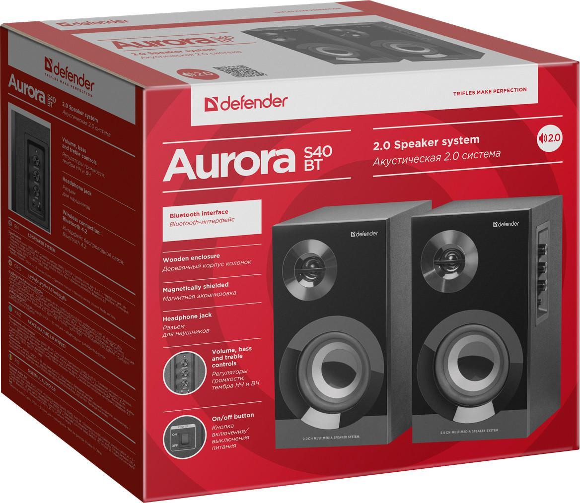 Акустическая система 2.0 Defender Aurora S40 BT, 40 Вт, bluetooth, 220 В, арт. 65240