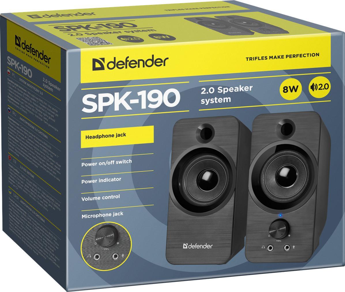 Акустическая система 2.0 Defender SPK-190, 8 Вт, USB, арт. 65190