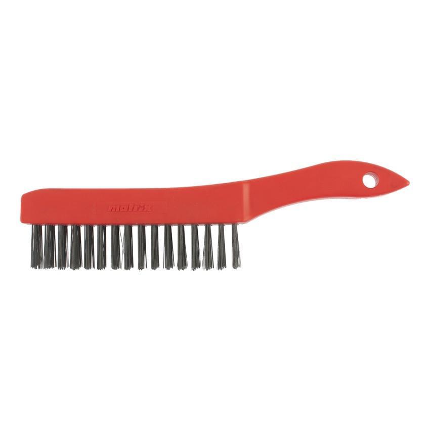 Щетка зачистная, 5-и рядная, закаленная прямая проволока с пластиковой ручкой