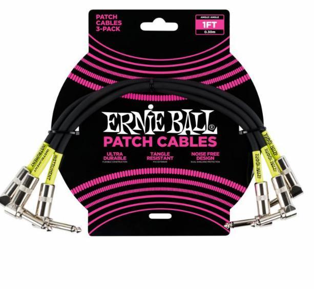 Набор кабелей инструментальных Ernie Ball 6075, цвет: чёрный, 3 штуки, 30 см