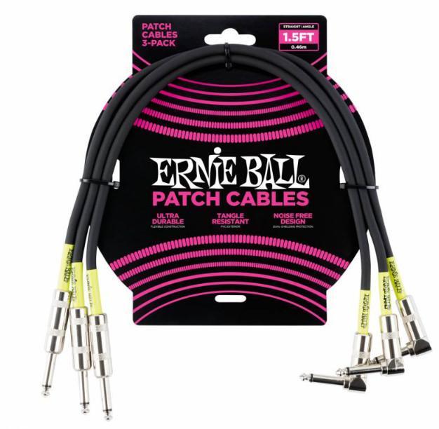 Набор кабелей инструментальных Ernie Ball 6076, цвет: чёрный, 3 штуки, 46 см