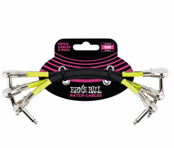 Набор кабелей инструментальных Ernie Ball 6059, цвет: чёрный, 3 штуки, 15 см