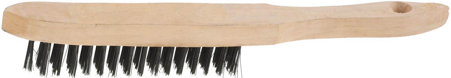 Щетка проволочная стальная с деревянной ручкой, 3 ряда