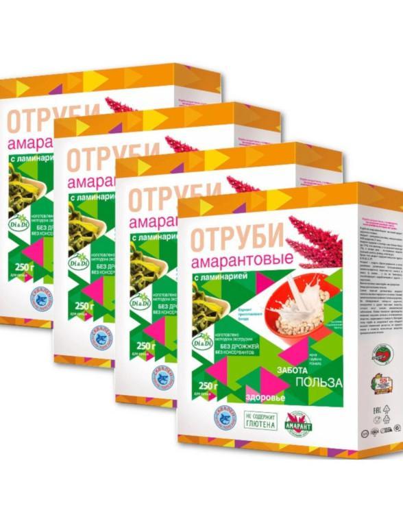 Отруби амарантовые безглютеновые с ламинарией Di&Di, 4 штуки по 250 грамм