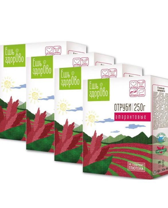 Отруби амарантовые Ешь ЗдорОво, без глютена, 4 штуки по 250 грамм