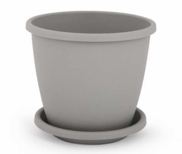 """Горшок цветочный """"Афина"""" с поддоном, 5,5 литра (серый)"""