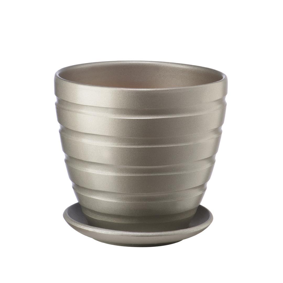 Керамический горшок с подставкой, 1,4 л, 145х145х130 мм, антрацитовый