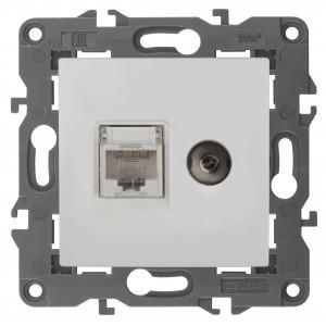 Розетка Эра 14-3110-01, RJ45+TV (белый)