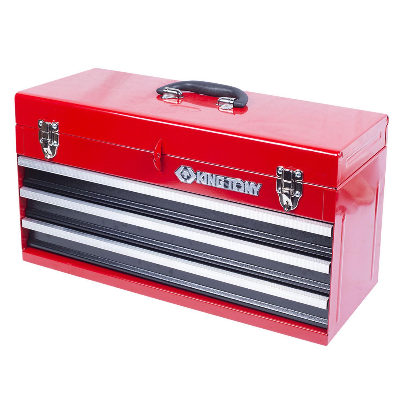 Ящик инструментальный King Tony, 3 ящика и отсек, красный