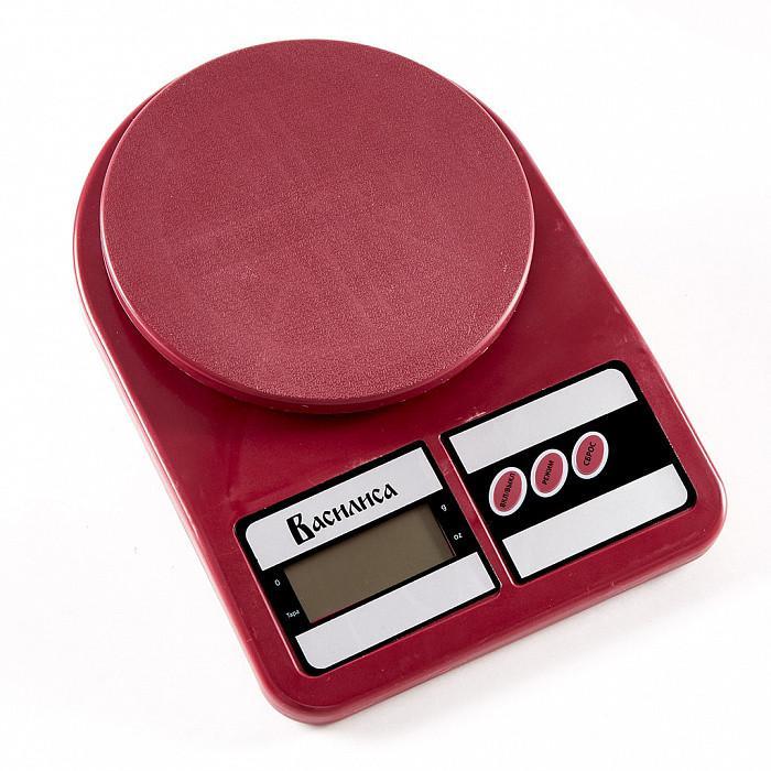 Весы настольные электронные, 5 кг, цвет: бордовый, артикул ВА-012
