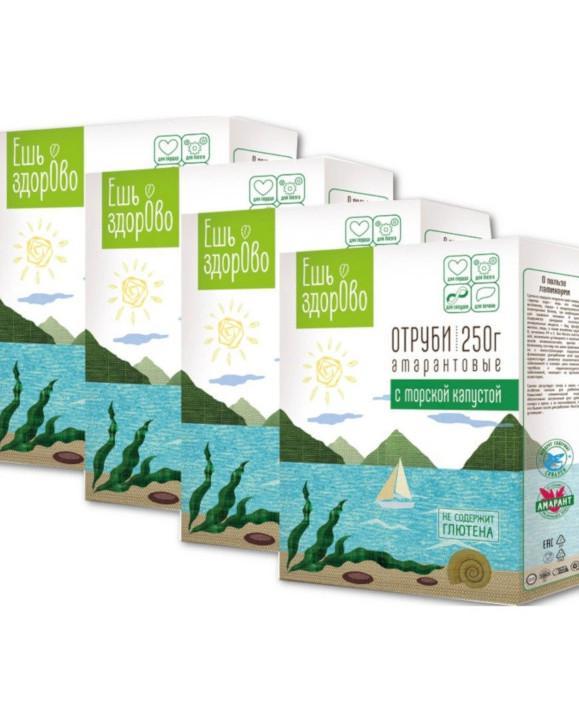 Отруби амарантовые с морской капустой Ешь ЗдорОво, без глютена, 4 штуки по 250 грамм