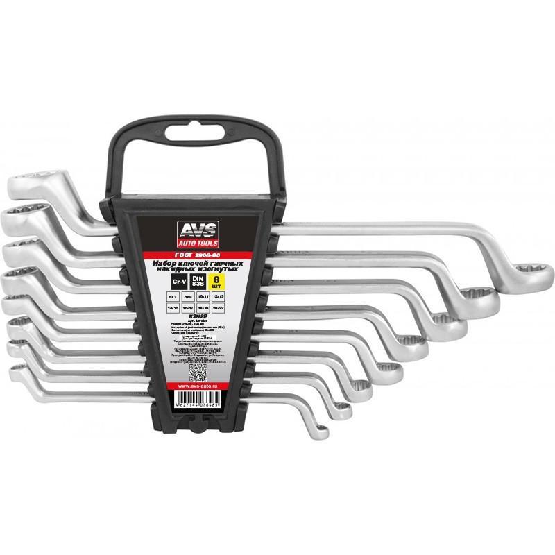 Набор ключей гаечных накидных изогнутых AVS K2N8P, 6-22 мм (8 предметов)
