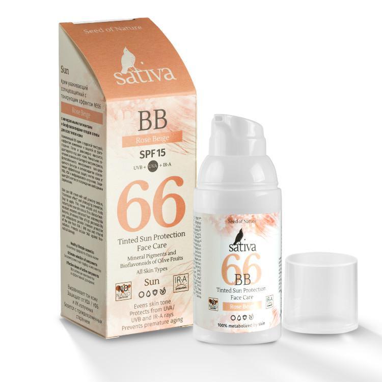 Крем ухаживающий солнцезащитный Sativa №66, с тонирующим эффектом, тон: розово-бежевый, 30 мл