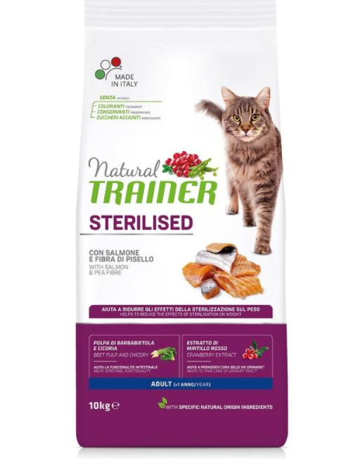 Сухой корм для взрослых стерилизованных кошек Trainer Natural, с лососем и клетчаткой гороха, 10 кг