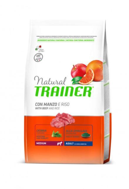 Сухой корм для взрослых собак средних парод Trainer Natural Medium Adult, с говядина и рисом, 12 кг
