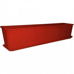 Балконный ящик с поддоном, 80 см, цвет: терракотовый