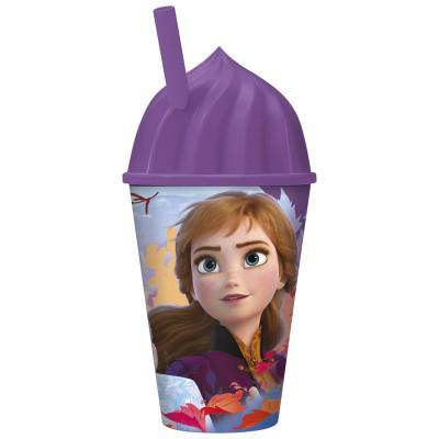 Стакан пластиковый с соломинкой и объемной крышкой в виде мороженного