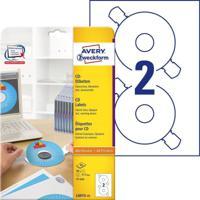 """Этикетки для CD/DVD """"Avery Zweckform"""", бумажные, белые, 117 мм, 50 штук, 25 листов"""