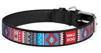 """Ошейник для собак Wau Dog Design, с рисунком """"Этно"""" (цвет: черный), 12 мм х 20-28 см"""