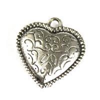 """Подвеска металлическая """"Сердце"""", цвет: серебро состаренное, 18x19 мм, 5 штук, арт. H0979"""