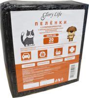 """Пеленки одноразовые для животных """"Glory Life"""", c суперабсорбентом и липким фиксирующим слоем (цвет: черный), 60x90 см, 20 штук"""