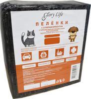 """Пеленки одноразовые для животных """"Glory Life"""", c суперабсорбентом и липким фиксирующим слоем (цвет: черный), 60x60 см, 20 штук"""