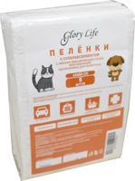 """Пеленки одноразовые для животных """"Glory Life"""", c суперабсорбентом и липким фиксирующим слоем (цвет: белый), 60x60 см, 5 штук"""
