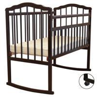 """Кроватка детская Malika """"Melisa-2"""", колесо-качалка, без ящика, цвет: шоколад"""