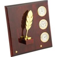 """Плакетка """"Перо"""" часы, термометр, гигрометр, цвет: коричневый, золотой"""