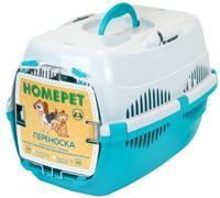 """Переноска для животных """"Homepet"""", с металлической дверцей (цвет: бирюзовый, белый), 43х29х27 см"""