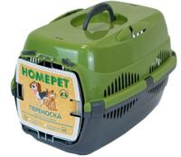 """Переноска для животных """"Homepet"""", с металлической дверцей (цвет: оливковый, серый), 43х29х27 см"""