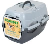 "Переноска для животных ""Homepet"", с металлической дверцей (цвет: серый), 43х29х27 см"