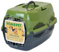 """Переноска для животных """"Homepet"""", с металлической дверцей (цвет: оливковый, серый), 49х33х32 см"""