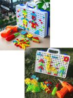 Развивающий конструктор мозаика с шуруповертом, 151 деталь