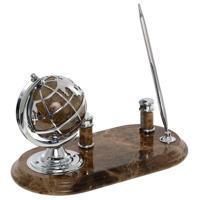 Настольный набор на мраморной подставке (глобус, ручка, подставка для визиток)
