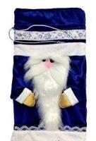 """Мешок для подарков """"Дед Мороз"""", 18x32 см, синий"""