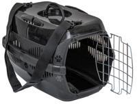 """Переноска для животных ZooM """"Спутник-1"""" с металлической дверцей и наплечным ремнем (цвет: черный), 29х43х27,5 см"""