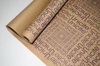 """Крафт-бумага """"Буквы фиолетовые"""", на коричневом фоне, 0,7x8,5 м"""