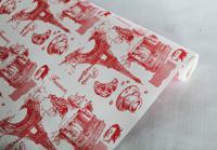 """Крафт-бумага влагостойкая """"Париж"""", красная на белом, 0,7x8,5 м"""