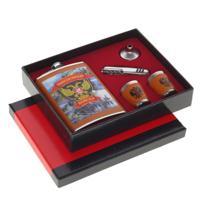 Подарочный набор из 5-ти предметов: фляжка 250 мл, 2 стопки по 30 мл, воронка, МФУ нож, 21x4x17 см