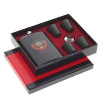 Подарочный набор из 6-ти предметов, цвет: черный, фляжка 250 мл, 4 стопки по 30 мл, воронка, 21x17x4 см