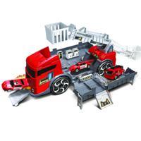 """Игровой набор Handers """"Трейлер-мегабаза: пожарная машина"""", 39 см, 2 машинки"""