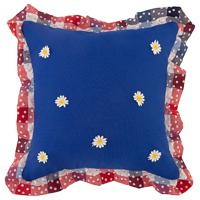 "Декоративная подушка ""Индиго"", цвет: синий, клетка, 40х40 см"