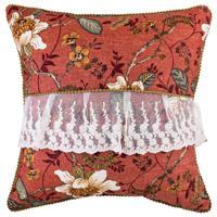 """Декоративная подушка """"Магнолия"""", цвет: коричневый, кружево, 45x45 см"""