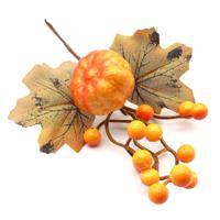 """Цветы искусственные """"Ветка кленовая с ягодами и тыквой"""", 24 см (арт. XY19-1126)"""