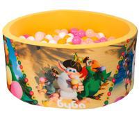 """Сухой игровой бассейн """"Booba. Гольф на солнце и мороженное"""", высота 40 см, 200 шариков (желтый, белый, прозрачный, розовый)"""