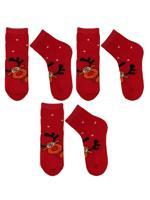 Комплект носков для мальчика, цвет: красный, размер: 22-24, 3 пары